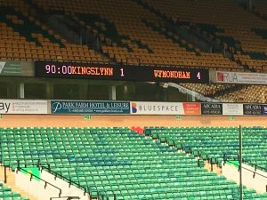Cup Final scores on the board - final 4-1 score displayed in lights on the stadium board